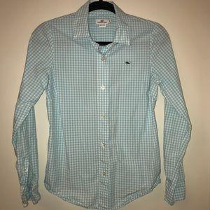 Blue Vineyard Vines Gingham Button-Down Shirt